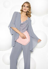 Chiffon Mother Of The Bride Dresses Pants Suits Formal Wedding Gown +Long Jacket