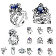 925 Sterling Silver Plated Engagement Ring Wedding Bridal Couples Rings Set