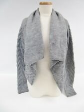 Vince Gray Wool Cable Knit Open Front Draped Cardigan Sweater S