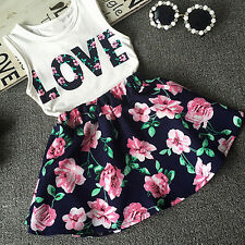 Toddler Kids Baby Girl Love Letters Print Vest Tops Floral Skirt Outfit Clothes