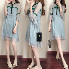 New Korean Sweet Summer Long Fashion Women Flounced Sleeved Floral Chiffon Dress