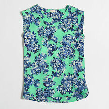 J Crew Photo Floral Green White Blue Prints Top Tunic Blouse Silky Drapey Summer