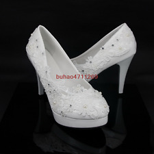 Wedding shoes Lace white ivory crystal Bridal flats low high heel pump size 5-10