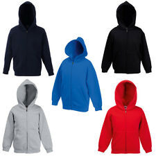 New Fruit of the Loom Childrens Kids Zip Hoodie Sweat Jacket 7 Colours Ages 5-15