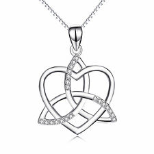 "Knot Heart Gold Filled Pendant 925 Sterling Silver Necklace CZ /18"" Silver Chain"