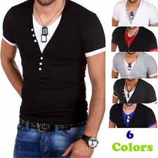 Men's T-Shirt Short Sleeve V-Neck Solid Casual Slim Fit T-shirts Cotton Tops w9