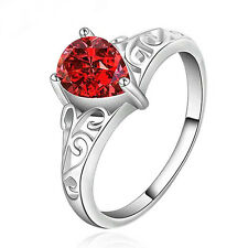 Unisex Waterdrop Faux Ruby Zircon Silver Plated Solitaire Ring Love Gift Sassy