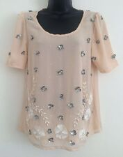 New NEXT Nude Cream Sequin Beads Embroided Chiffon Summer  Blouse Top Size 6-16