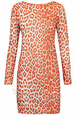 Long Sleeve Mini Dress Orange Leopard Print Tunic Top Funky Animal Party Wild