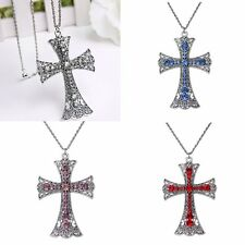Fashion Women's Chain Crystal Rhinestone Cross Crucifix Pendant Necklace Jewelry