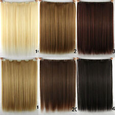 """Women Long Straight Clip in Synthetic Human Hair Extensions 5 Clip 46cm 18"""" Hot"""