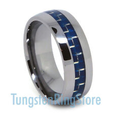 Cool Tungsten Wedding Band Blue Carbon Fiber Engagement Ring Comfort Fit 8MM