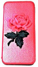 Woodys Originals Inc Red Rose Flower Red- Black- Blue- Leather Cell Phone Cases
