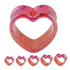 "Splatter AB Fushia Heart Double Flare Tunnels Ear Gauge Plugs 2G-1"" Body Jewelry"
