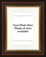 New Mahogany Effect Gold Trim Photo Picture Frame with White Mount Choose size