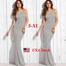 Long Summer Beach Women Casual Dress Stretch Bodycon Evening Party Cocktail Maxi