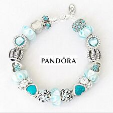 Authentic PANDORA Sterling Silver Bracelet with Aquamarine Blue European Charms