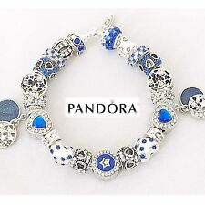 Authentic PANDORA Sterling Silver Bracelet w/ Love You to Moon European Charms