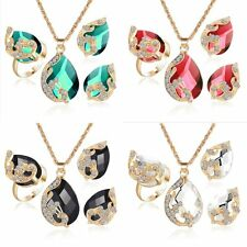 3PCS Prom Wedding Austrian Peacock Crystal Necklace Earring Ring Jewelry Sets