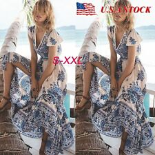 Women's V-Neck Summer Long Maxi Dress Beach Boho Evening Party Cocktail Sundress
