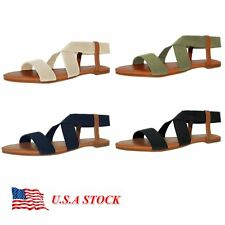 Women's Gladiator Sandals Shoes Thong T Strap Flat Size Strappy Flip Flops Toe