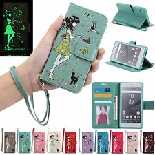 Lovely Luminous Flip Leather Kickstand Cards Wallet Case Cover For Sony Xperia