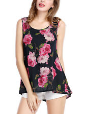 Allegra K Women Floral Prints Scoop Neck High Low Hem Tank Top