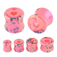 Pair of Pink Heart Splatter Double Flared Acrylic Saddle Fit Ear Plugs