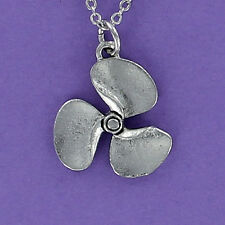 Boat Propeller Necklace - Pewter Charm on Chain Boating Motor Prop Water Ski NEW