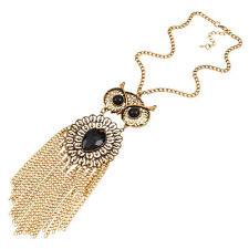 New Women Vintage Rhinestone OWL Pendant Long Tassel Chain Necklace Jewellery