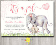 Custom Baby Shower Invitation Cute Mum & Baby Girl Elephant Floral Pink Balloon