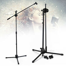New Telescopic Boom Mic Stand Adjustable Microphone Holder Tripod Two Clip AU