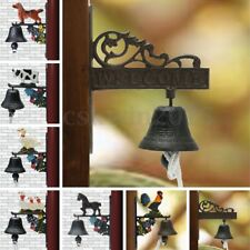 Vintage Animal Garden Bell Rusted Cast Iron Hanging Wall Mounted Door Home Decor