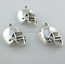 Tibetan Silver Rugby Football Helmet Charms Pendants Jewelry Making 14x21mm