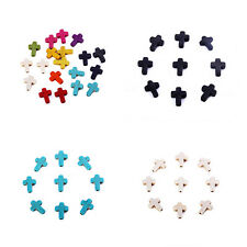 Mixed Color 40pcs Cross Stone Loose Spacer Beads Charm Fit DIY Bracelet Making