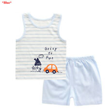 Baby Boys Girls Sleeveless T shirt & Shorts Outfits Toddler Kids Summer Clothing