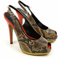 ROCK & REPUBLIC Faux SNAKESKIN BLACK & TAN SHOES Stiletto ORANGE HEELS Yellow
