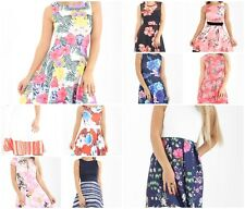 New Women Summer Floral Print Sleeveless Mini Skater Dresses UK 8-24