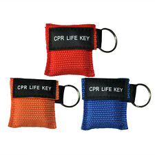 CPR MASK 100PCS 3COLORS KEYCHAIN POUCH TRANSPARENT ONE-WAY VALVE CPR LIFE KEY