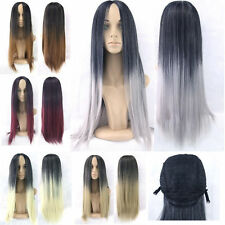 Women Long Hair Straight Hair Party Cosplay Full Wig Clip In Anime Synthetic 49e