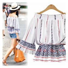 Womens White Off Shoulder Blouse Bardot Top Off with Ruffle Sleeve Mixed Print
