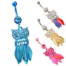 Belly Ring 1Pcs Navel Button Body Stainless Steel Owl Leaves Rhinestone Piercing