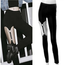 Visual Punk Gothic Rock Black straps hollow rivet Garter leggings Pants