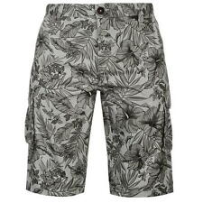 MENS PIERRE CARDIN CHARCOAL FLORAL CARGO ZIP FLY CASUAL LONG SHORTS