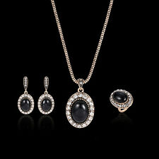 Women Rhinestone Faux Gem Charm Ring Necklace Earrings Style Jewelry Set Finest