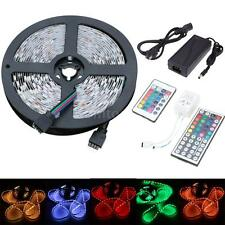 5M 300 LEDs SMD 3528 5050 RGB Flexible Strip Light + Remote + DC 12V Power Q5T2