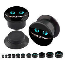 Pair Acrylic Ear Plugs Screw Fit Gauges Flesh Tunnels Earrings - Mad Grin Logo