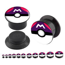 Pair Acrylic Ear Plugs Screw Fit Gauges Tunnels Earrings Pokemon Masterball