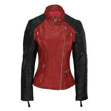 New Ladies Black Red Vintage Soft Genuine Real Leather Biker Jacket Size Fitted
