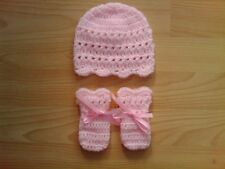 Handmade Crocheted Baby Girl XTR Hat with Mitts Various Colours 100% Acrylic